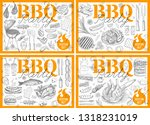 set bbq barbecue grill posters... | Shutterstock .eps vector #1318231019