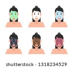 different types of facial masks.... | Shutterstock .eps vector #1318234529