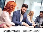 successful team.group of... | Shutterstock . vector #1318243820