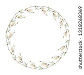 watercolor flower circle frame. ... | Shutterstock . vector #1318268369