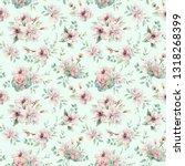 watercolor flowers seamless... | Shutterstock . vector #1318268399
