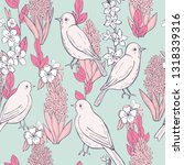 spring seamless pattern  with ... | Shutterstock .eps vector #1318339316
