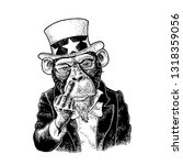 monkey uncle sam with middle... | Shutterstock .eps vector #1318359056