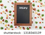 top view of chalk board with... | Shutterstock . vector #1318360139