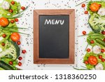 top view of chalk board with... | Shutterstock . vector #1318360250
