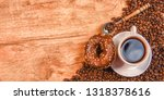 background with coffee and... | Shutterstock . vector #1318378616