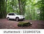 white suv car off road in... | Shutterstock . vector #1318403726