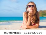 long haired woman in bikini and ... | Shutterstock . vector #1318427399