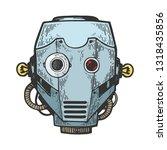 cyborg robot metal head color...   Shutterstock .eps vector #1318435856