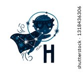 vector animal alphabet letter h ... | Shutterstock .eps vector #1318436306