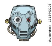 cyborg robot metal head color...   Shutterstock . vector #1318443203