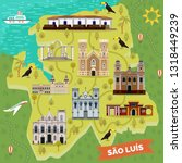Sao Luis retro map with landmark places. Igreja da Se or cathedral of our Lady of Victory, Batista, Jose Sao Pantaleao, Largo dos Amores, Saint Antonio church, Raia fortification,Wang park.Sightseeing
