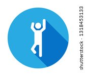 man with raised arms icon with...