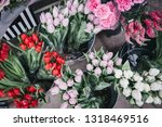 Bunches Of Fresh Red  Pink And...