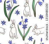 easter seamless pattern. spring ... | Shutterstock .eps vector #1318480100