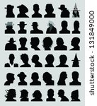 big set of silhouettes of heads ... | Shutterstock .eps vector #131849000