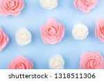 white and pink decorative roses ... | Shutterstock . vector #1318511306