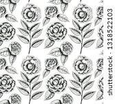 hand drawn camellias pattern.... | Shutterstock . vector #1318522103