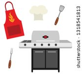 vector cookout grill utensils... | Shutterstock .eps vector #1318541813