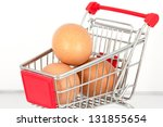 Eggs in the shopping cart - stock photo