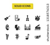 melody icons set with cornet ...