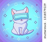 cute sitting cat with vr...   Shutterstock .eps vector #1318579229