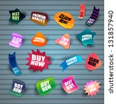 set of different stickers on... | Shutterstock .eps vector #131857940