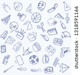 vector set of secondary school... | Shutterstock .eps vector #1318591166