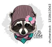 vector raccoon with knitted hat ... | Shutterstock .eps vector #1318613063