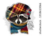 Vector Raccoon With Checkered...
