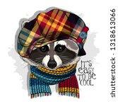vector raccoon with checkered... | Shutterstock .eps vector #1318613066