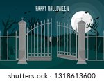 gothic castle behind gates in... | Shutterstock .eps vector #1318613600