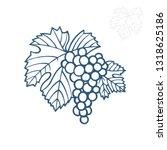 grape. hand drawn grape and... | Shutterstock .eps vector #1318625186