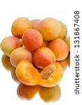 Ripe apricots isolated on white background - stock photo