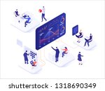 people interacting with charts... | Shutterstock .eps vector #1318690349