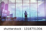 silhouette of a trader in the... | Shutterstock . vector #1318751306