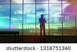 silhouette of a trader in the... | Shutterstock . vector #1318751360