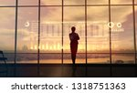 silhouette of business woman... | Shutterstock . vector #1318751363