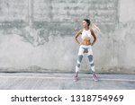fitness model in sportswear... | Shutterstock . vector #1318754969