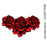 Tree red vector roses isolated