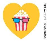 big popcorn box face in 3d... | Shutterstock .eps vector #1318795133