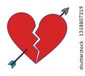 heart broken with bow arrow... | Shutterstock .eps vector #1318807319