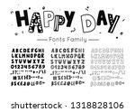 scandinavian font. vector kids... | Shutterstock .eps vector #1318828106