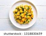 stir fried pumpkin with eggs on ...   Shutterstock . vector #1318830659