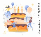 big birthday cake surrounded by ... | Shutterstock .eps vector #1318832210