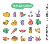 hand drawn line style icons of... | Shutterstock .eps vector #1318837319