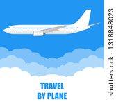 travel by plane banner. white... | Shutterstock .eps vector #1318848023