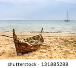 Old Beached Fishing Boat  ...