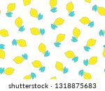simple lemon citrus seamless... | Shutterstock .eps vector #1318875683