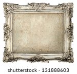 Stock photo old silver frame with empty grunge canvas for your picture photo image beautiful vintage 131888603